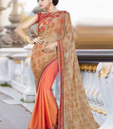 Buy Beige embroidered georgette saree with blouse wedding-saree online