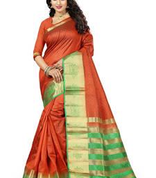 Buy Orange woven art silk saree with blouse hand-woven-saree online