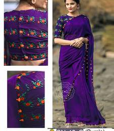 Buy Purple embroidered georgette saree with blouse below-300 online