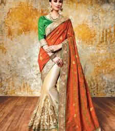 Buy Orange embroidered jacquard saree with blouse lehenga-saree online