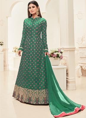 Green multi resham work silk salwar