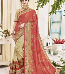 Buy Peach Art Silk Embroidery Designer Saree wedding-saree online