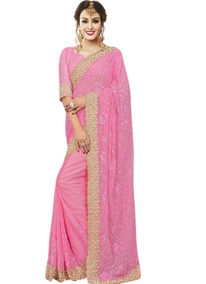 Pink Georgette Embroidered Net Mirror work Embroidery Designer Saree