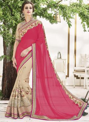 Pink Art Silk Embroidery Designer Saree