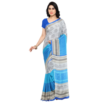 Grey printed crepe saree with blouse