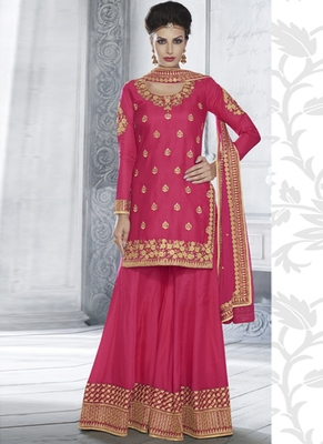 Rani Pink Multi Resham Work Tussar Silk Salwar With Dupatta
