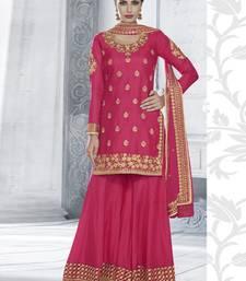 Buy Rani pink multi resham work tussar silk salwar with dupatta palazzo online