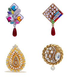 Buy Classic Gold & Silver Plated Shiny Rhine Stone Studded Special Combo Of 4 Alloy Broochs For Girls/Women jewellery-combo online