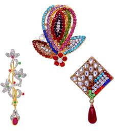 Buy Classic Gold Plated Shiny Rhine Stone Studded Party Wear Special Combo Of 3 Alloy Broochs For Girls/Women jewellery-combo online