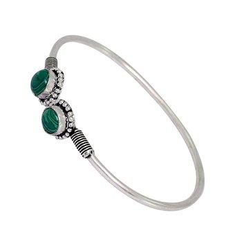 Adjustable Partywear Collection Silvertone Oxidised Aqua Stone Studded Kada Bracelet For Girls