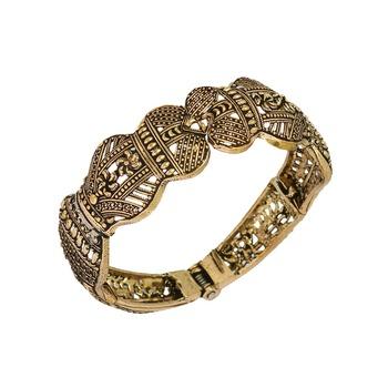 Partywear Goldtone Oxidised Adjustable Kada Bracelet For Girls