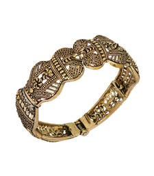 Partywear Goldtone Oxidised Adjustable Kada Bracelet For Girls