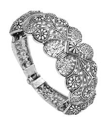 Partywear Collection Of Flower Inspired Silver Oxidised Adjustable Bracelet For Girls/Women
