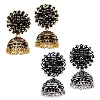 Oxidised Gold & Silver Plated Handmade Jhumka Jhumki Earrings