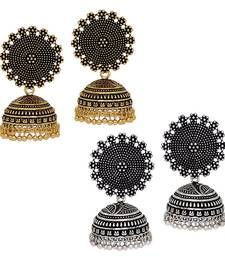 Buy Oxidised Gold & Silver Plated Handmade Jhumka Jhumki Earrings women-ethnic-wear online