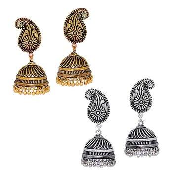 Oxidised Silver & Gold Plated Jhumka Earrings