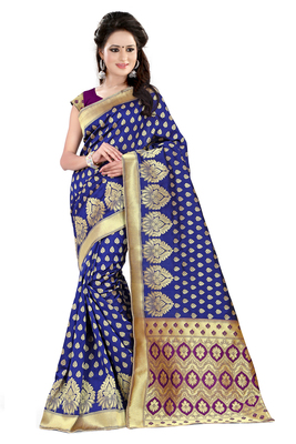Blue banarasi art silk saree with blouse