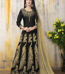 Buy Black zari bangalore silk salwar with dupatta anarkali-salwar-kameez online