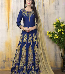 Buy Royal blue zari bangalore silk salwar with dupatta anarkali-salwar-kameez online