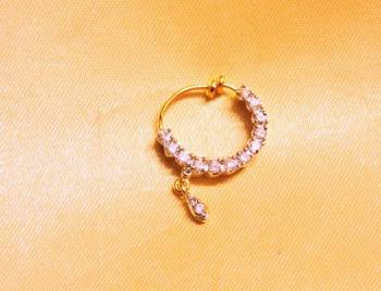 Diamond Gold Plated Spring Nose Ring