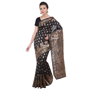 Black banarasi art silk saree with blouse