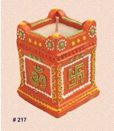 Buy Handmade earthen TULSI diya decorated with vibrant colors - 220rp pot online