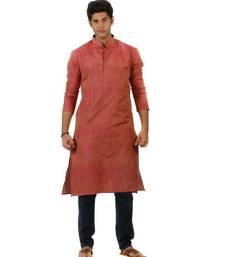 Amora Designer Ethnic Pink Solid Blended Khadi Straight Kurta For Men