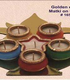 Buy Handmade earthen Garbi in Kalash with gold brim. 6 diya formation. 165rp pot online
