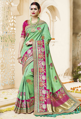 Green embroidered kanchipuram silk saree with blouse