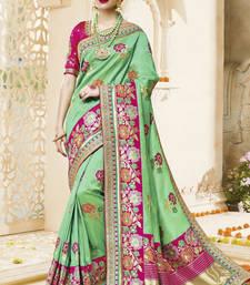 Buy Green embroidered kanchipuram silk saree with blouse kanchipuram-silk-saree online