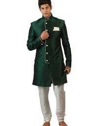 Amora Designer Ethnic Green Blended Silk Indo-Western Sherwani For Men