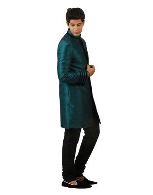 Amora Designer Ethnic Teal Blended Silk Indo-Western Sherwani For Men