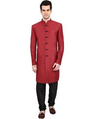 indian ATTIRE Designer Ethnic Blended Jute Maroon Indo-Western Sherwani For Men