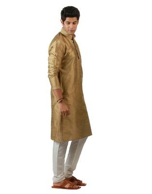 Amora Designer Ethnic Beige Blended Silk Kurta Churidar Set For Men