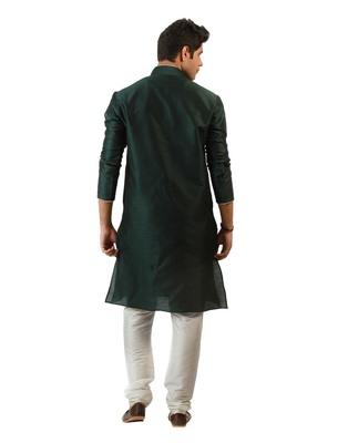Amora Designer Ethnic Green Blended Silk Kurta Churidar Set For Men