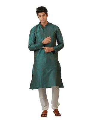 Amora Designer Ethnic Blue Blended Silk Kurta Churidar Set For Men