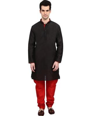 indian ATTIRE Ethnic Blended Silk Black Kurta And Red Churidar For Men