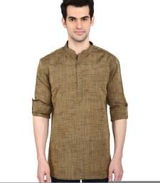 indian ATTIRE Ethnic Blended Short Brown Solid Straight Kurta Brown For Men