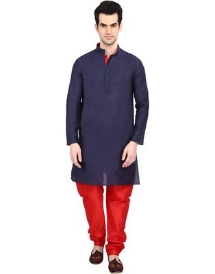 indian ATTIRE Blended Silk Embellished Navy Blue Kurta And Red Churidar For Men