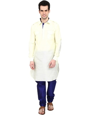 Indian Attire Ethnic Blended Silk Solid Cream Pathani And Blue Churidar For Men