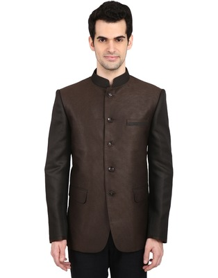 indian ATTIRE Ethnic Blended Brown Indo-Western Bandgala (Indian Coat)  For Men