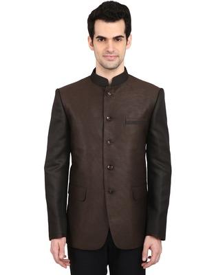 indian ATTIRE Ethnic Blended Brown Indo-Western Bandgala (Indian Coat)  For Men