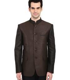 Buy indian ATTIRE Ethnic Blended Brown Indo-Western Bandgala (Indian Coat)  For Men nehru-jacket online