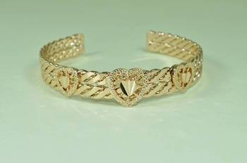 Triple Heart embossed Cuff Bangle in Rose Golden tone Metal with double interwined wave pattern bracelets
