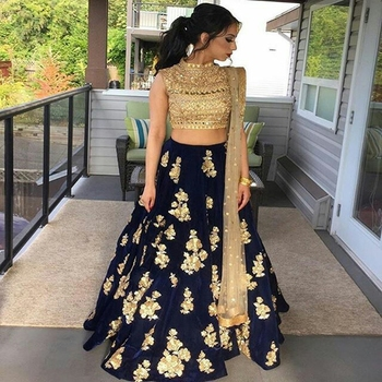 Navy blue embroidered silk unstitched lehenga with dupatta