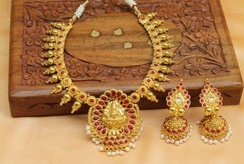 Lovely Gold Plated Temple Necklace Set