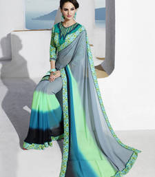 parrot_green printed georgette saree with blouse