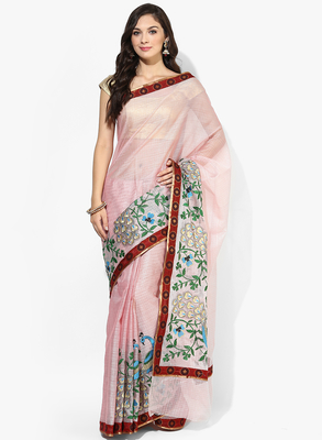 Peach woven saree with blouse