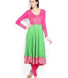 Buy kukn123 IraSoleil Viscose Women Pink & Lime Green Printed Anarkali Kurta kurtas-and-kurti online