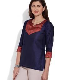 Buy Blue plain dupion_silk stitched kurti plus-size-kurtis online